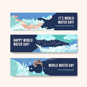 Banner-vorlage mit weltwassertag-konzeptentwurf für werbung und vermarktung aquarellillustration