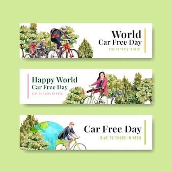 Banner vorlage mit world car free day konzept design für werbung und broschüre aquarell.