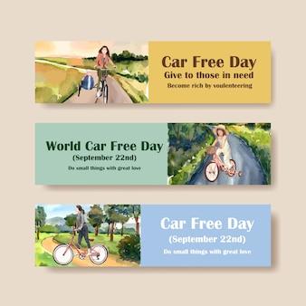 Banner vorlage mit world car free day konzeptdesign für werbung und broschüre aquarell vektor.
