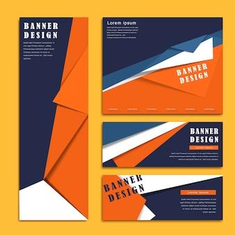 Banner-vorlagen-design im origami-stil