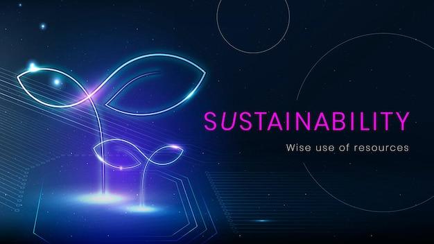 Banner-vorlagenvektor für nachhaltigkeits-umwelttechnologie