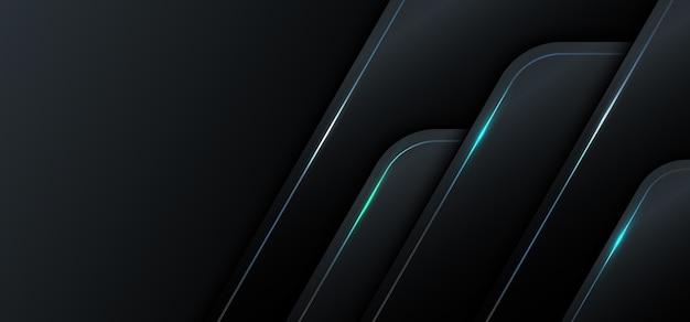 Banner web template 3d geometrisch schwarz metallic