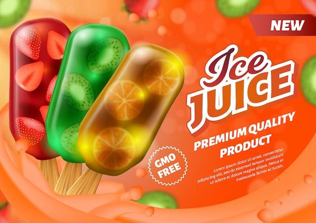 Banner werbung ice juice am stiel eis am stiel
