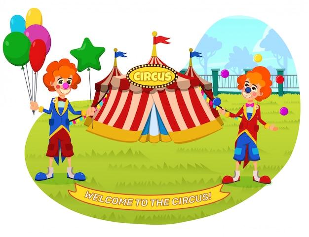 Banner willkommen im circus lettering cartoon.
