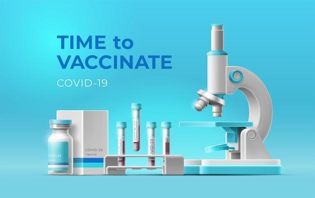 Banner zeit zu impfung und realistisches 3d-mikroskop, ampulle mit covid-impfstoff, blutteströhrchen