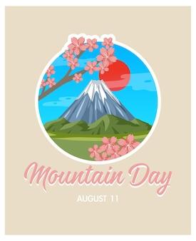 Banner zum bergtag am 11. august mit dem berg fuji