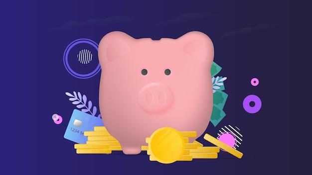 Banner zum thema finanzen. rosa sparschwein in form eines schweins mit goldmünzen.