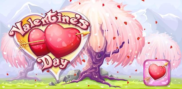 Banner zum valentinstag - symbol mit pfeil und herz