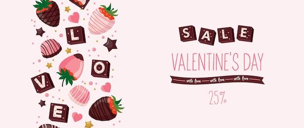 Banner zum verkauf am valentinstag mit dekorativen elementen: schokolade, herzen, erdbeeren.