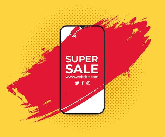 Banner zum verkauf mit splash in smartphone