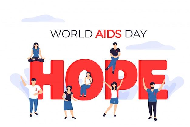 Banner zum welt-aids-tag. kleine leute mit roten bändern in der nähe der riesigen inschrift hope