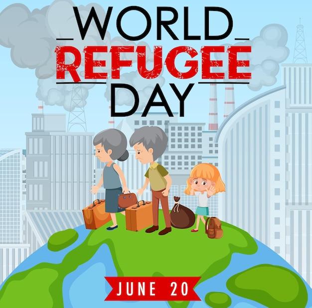 Banner zum weltflüchtlingstag mit flüchtlingsleuten, die auf dem globus laufen