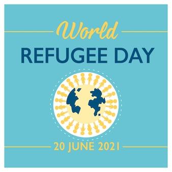 Banner zum weltflüchtlingstag mit menschen auf der ganzen welt