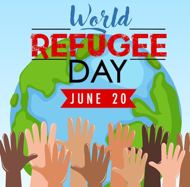 Banner zum weltflüchtlingstag mit vielen händen auf dem globus