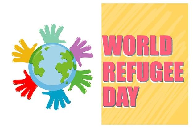 Banner zum weltflüchtlingstag mit vielen händen rund um den globus