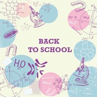 Banner zurück zur schule mit einem bild von schulmaterial.