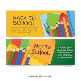 Banner zurück zur schule mit wachsmalstiften