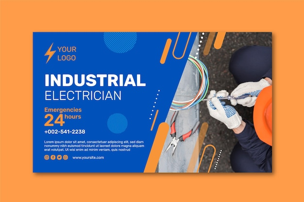 Bannerdesign des industrieelektrikers