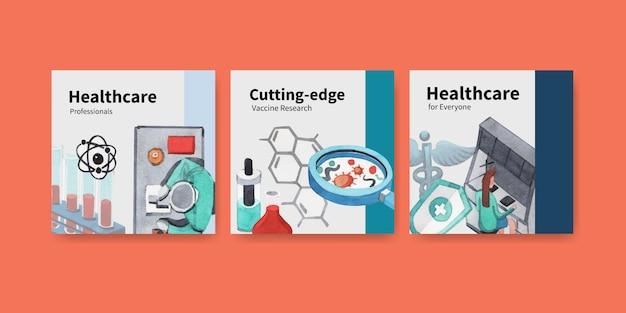 Bannerdesign im gesundheitswesen mit krankenhaus, arzt und apotheke