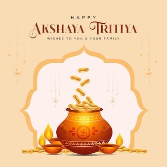 Bannerentwurf der glücklichen akshaya tritiya festivalschablone