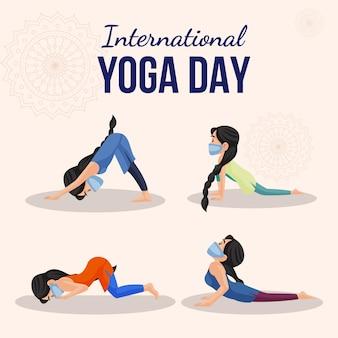 Bannerentwurf der internationalen yoga-tageskarikaturartschablone