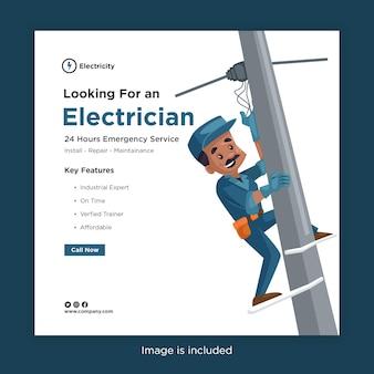 Bannerentwurf der suche nach einer elektrikerschablone für soziale medien mit elektriker, der drähte eines strommasts befestigt