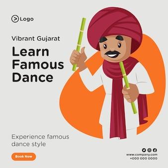 Bannerentwurf des berühmten tanzes von gujarat