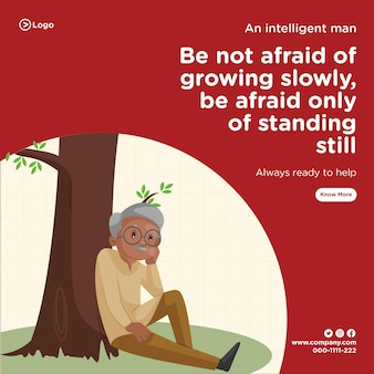 Bannerentwurf eines intelligenten mannes, der immer bereit ist, cartoon-stilvorlage zu helfen