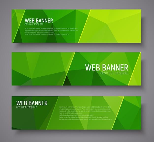 Bannerentwurf mit grünem abstraktem polygonalen hintergrund, transparenten diagonalen stempeln und text. einstellen
