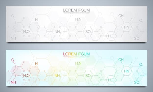 Bannerentwurfsschablone mit abstraktem chemischem hintergrund und chemischen formeln. wissenschafts- und innovationstechnologiekonzept.