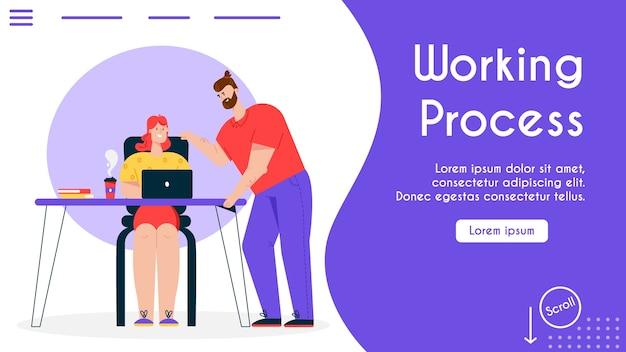 Bannerillustration des bequemen arbeitsplatzes im büro. frau sitzt am schreibtisch, arbeitet am laptop, kollege des mannes bespricht arbeitsaufgaben. moderner arbeitsbereich, coworking center, teamwork-prozess