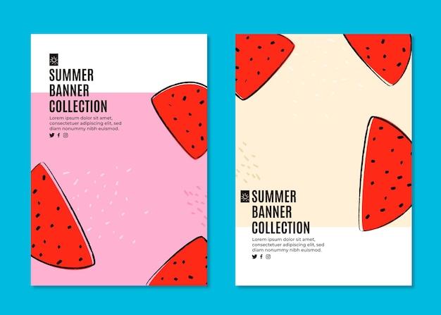 Bannersammlung für den sommer mit wassermelone