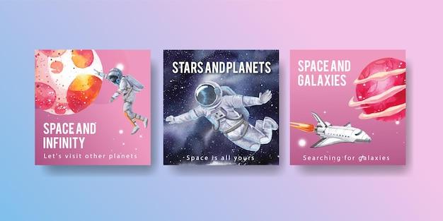 Bannerschablone mit aquarellillustration des galaxienkonzeptdesigns