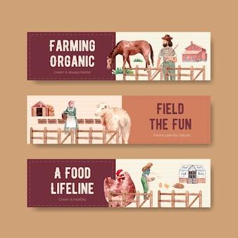 Bannerschablone mit aquarellillustration des organischen konzeptentwurfs der farm.