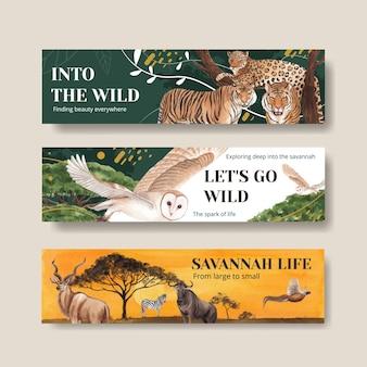 Bannerschablone mit aquarellillustration des savannah-wildtierkonzeptes Premium Vektoren