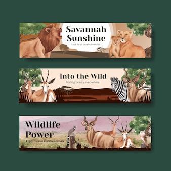 Bannerschablone mit aquarellillustration des savannah-wildtierkonzeptes