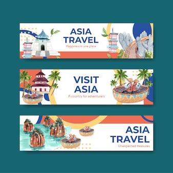 Bannerschablone mit asien-reisekonzeptentwurf für werbung und vermarktung aquarellvektorillustration