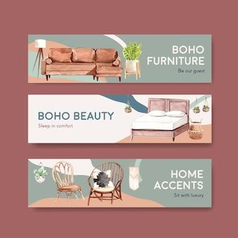 Bannerschablone mit boho-möbelkonzeptentwurf für werbung und vermarktung aquarellillustration