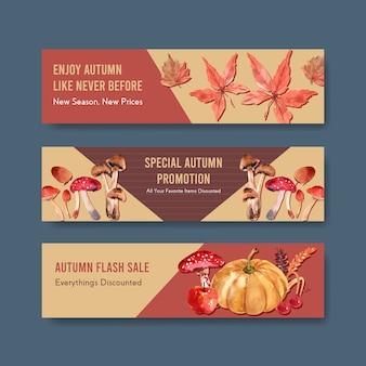 Bannerschablone mit dem täglichen konzeptentwurf des herbstes für marketing- und promotionaquarell