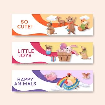 Bannerschablone mit der glücklichen tierkonzeptaquarellillustration
