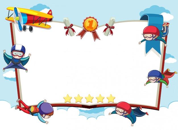 Bannerschablone mit fallschirmspringern und flugzeug im himmelhintergrund