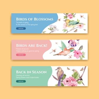 Bannerschablone mit frühlings- und vogelkonzeptentwurf für werbung und vermarktung aquarellillustration