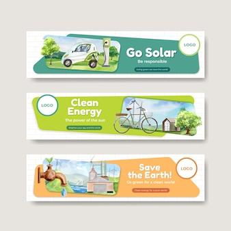 Bannerschablone mit grünem energiekonzept im aquarellstil