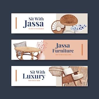 Bannerschablone mit jassa-möbelkonzeptentwurf für werbung und vermarktung aquarellvektorillustration