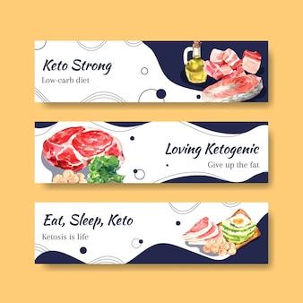 Bannerschablone mit ketogenem diätkonzept für werbung und vermarktung aquarellillustration.