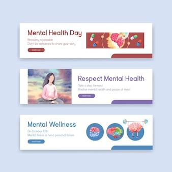 Bannerschablone mit konzeptentwurf des welttags der psychischen gesundheit für werbung und vermarktung aquarellvektorillustration.