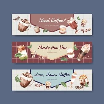 Bannerschablone mit koreanischem kaffeestilkonzept für werbung und vermarktung von aquarell