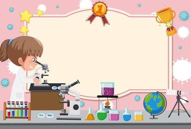 Bannerschablone mit mädchen im laborkleid, das durch mikroskop schaut