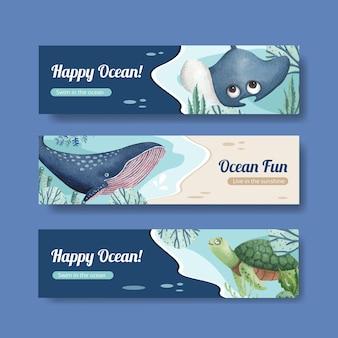 Bannerschablone mit ozean entzückter konzeptaquarellstil