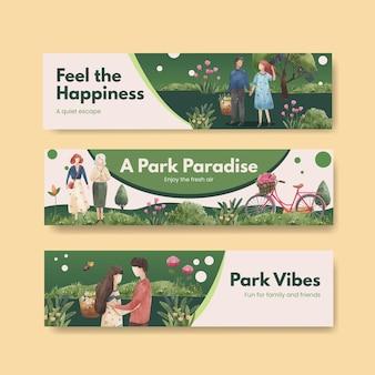 Bannerschablone mit park- und familienkonzeptentwurf für die werbung aquarellillustration